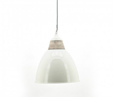 By-Boo lamp Grand Ivory - grote hanglamp in hoogglans wit met houtaccent