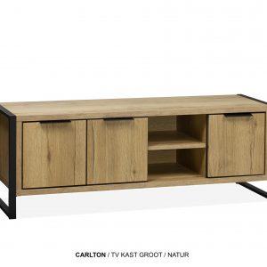 Carlton tv-kast groot plank hout